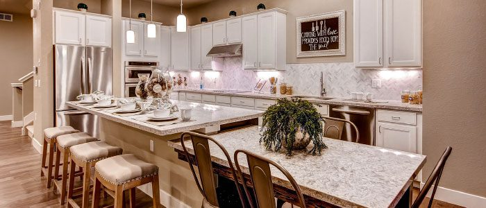 The kitchen of the Riverbend, one of two new model homes at Calmante.