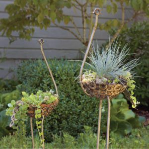 Ostrich Metal Planters